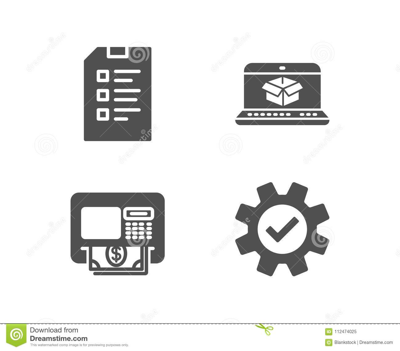 checklist atm and online delivery icons service sign data list