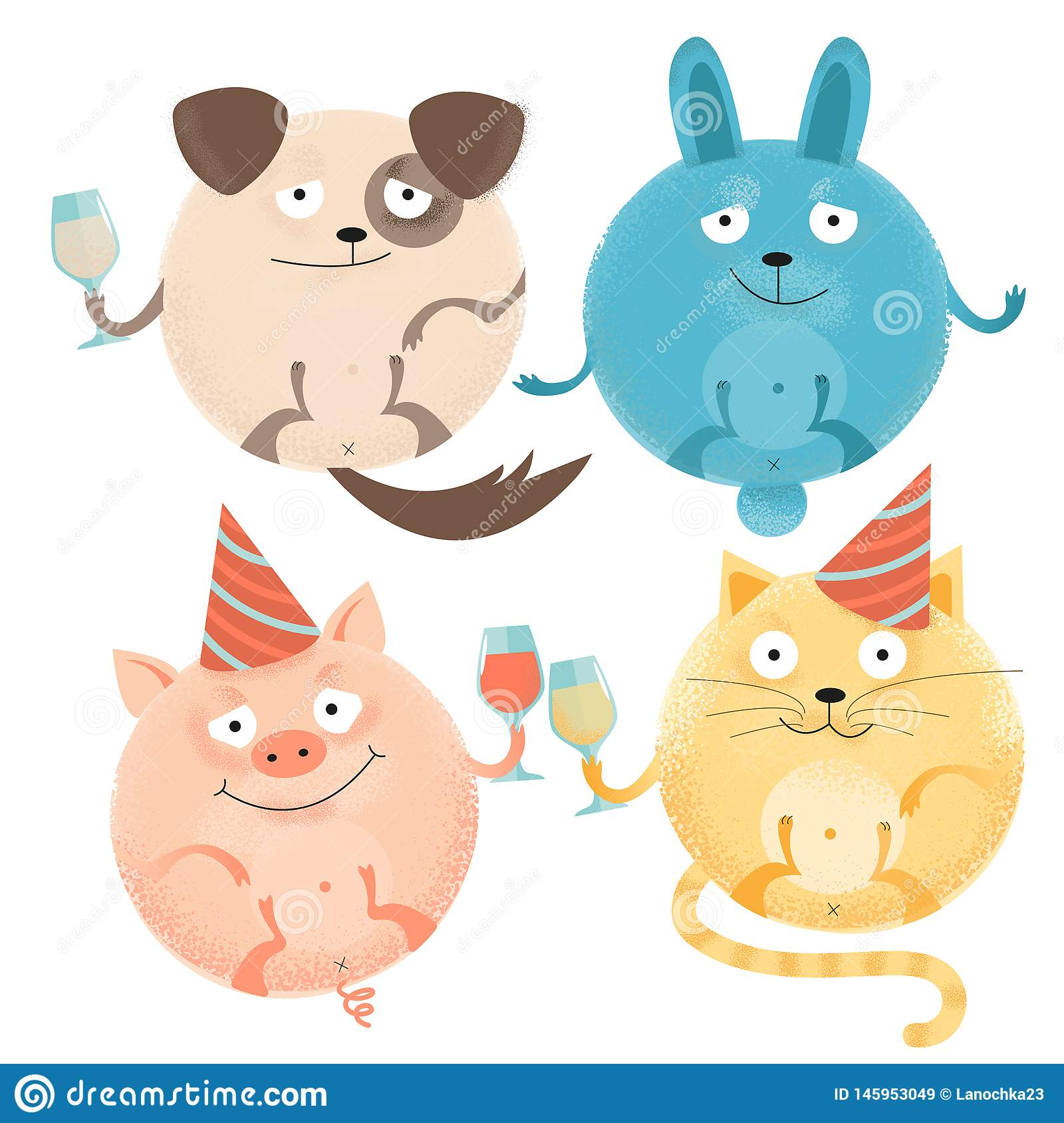 Set of 4 Cheerful round animals on holiday with glasses in festive caps. Happy smiling dog, rabbit, cat, pig. Flat textured