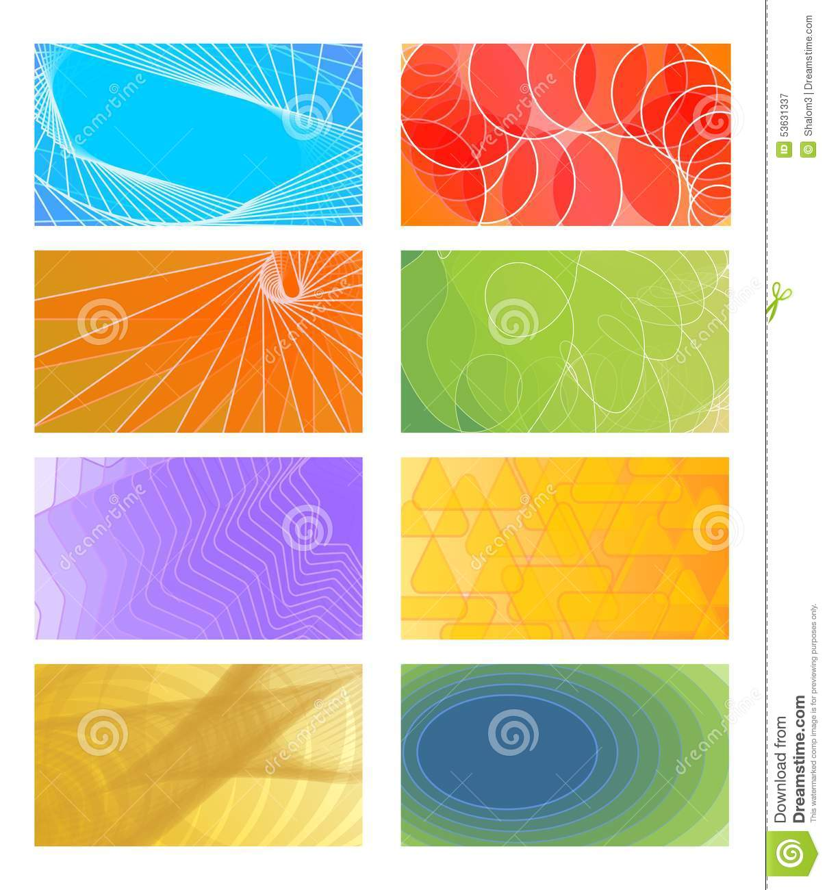 Set Of Cheerful Vector Backgrounds For Business Card, Flyer, Leaflet ...