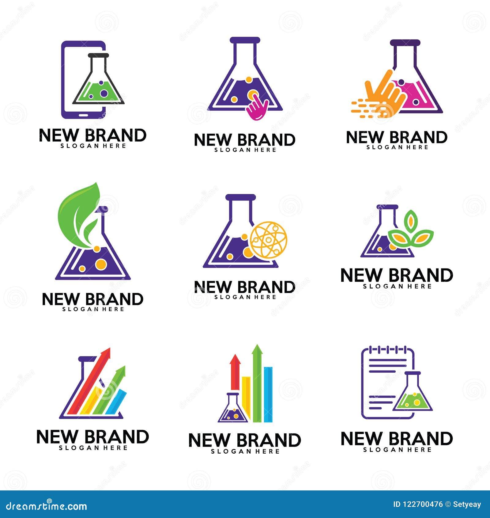 set of chemistry labs logo template biology labs leaf stats