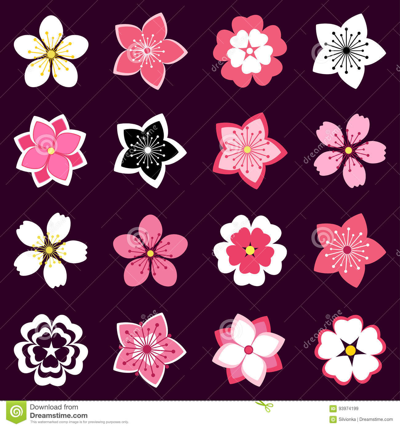 Cherry Blossom Japanese Sakura Vector Icon Set Vector