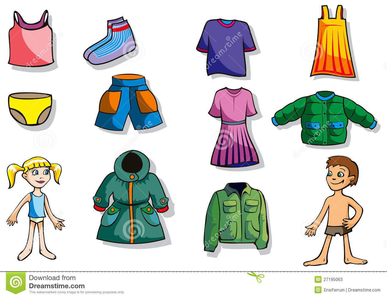Set of cartoon clothes for girl and boy, vector illustration.