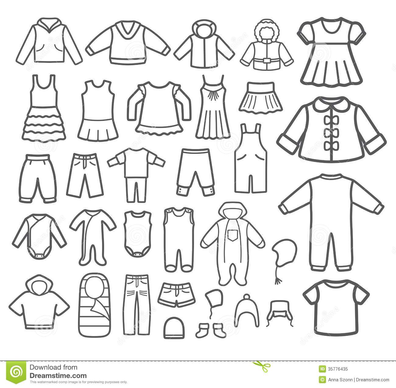 0659af8f2 Set of Children clothing. stock vector. Illustration of elements ...