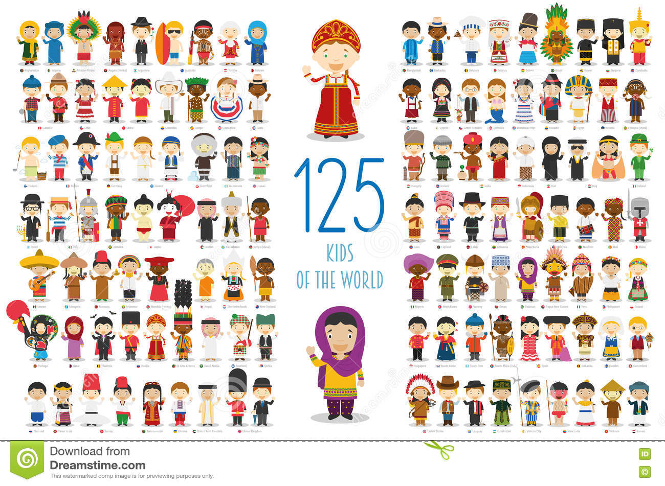 Set of 125 children of different nationalities in cartoon style.