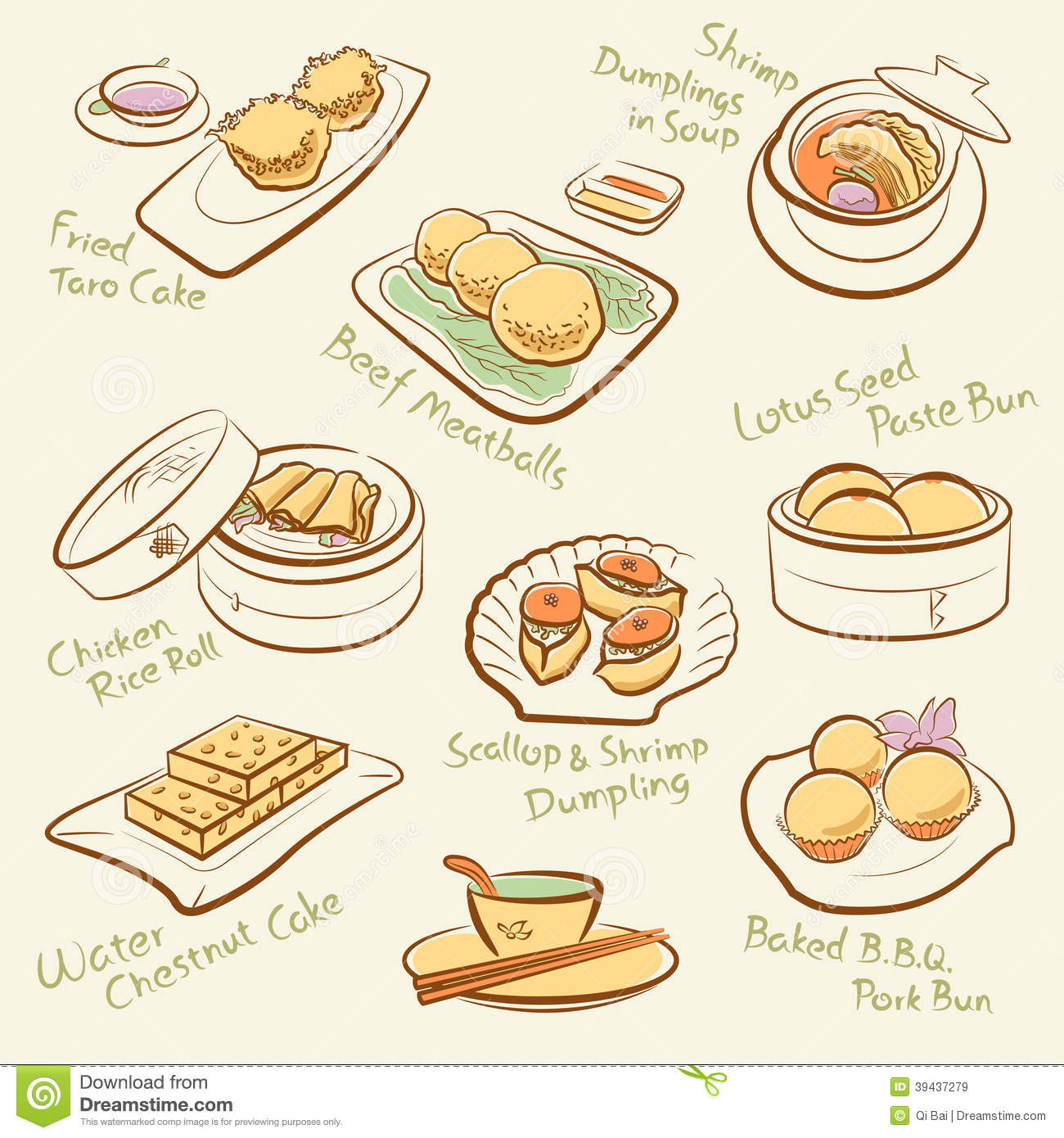 Set Of Chinese Food Stock Vector Image 39437279