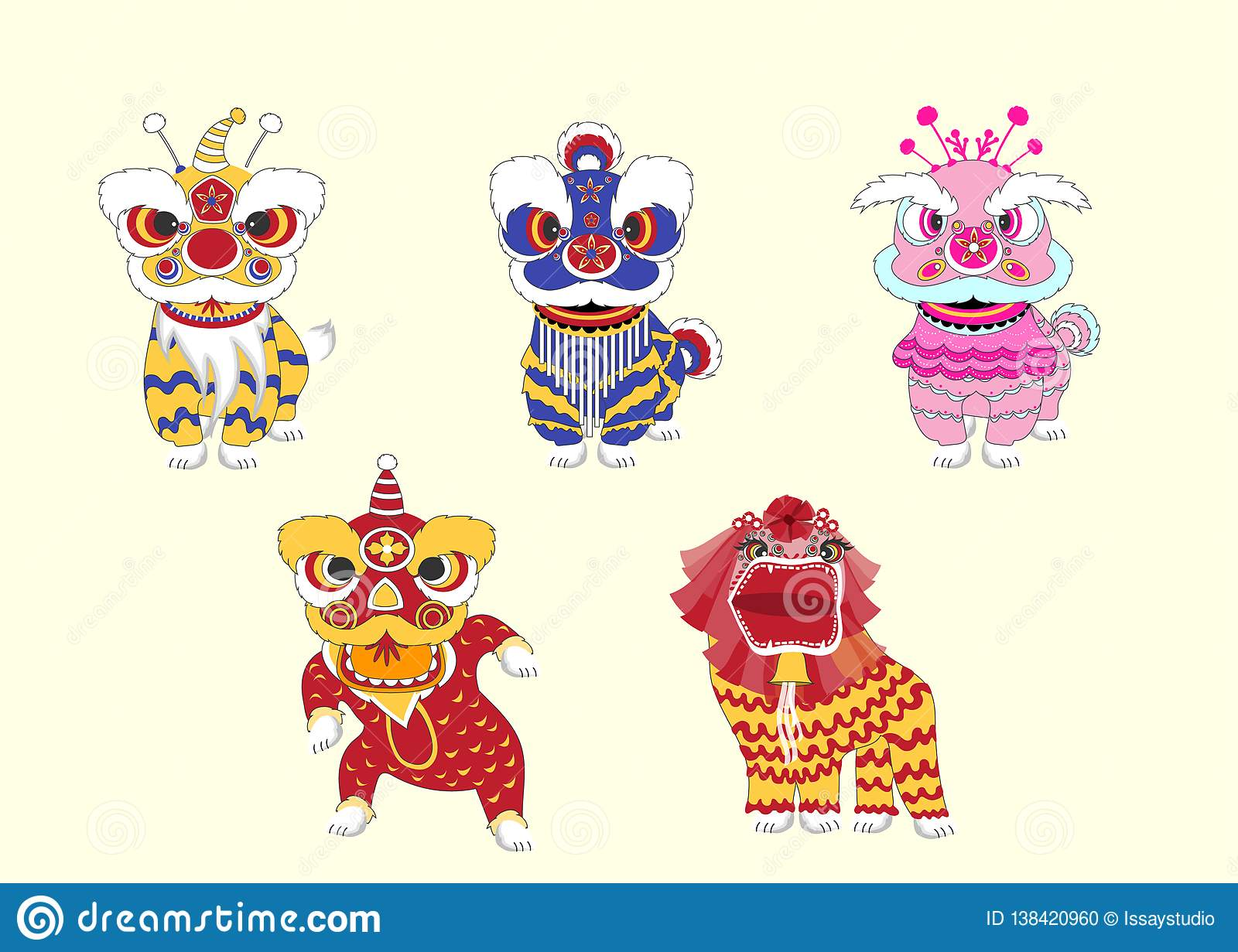 Set Of Chinese Lion Dance For Chinese New Year 2019,Craft
