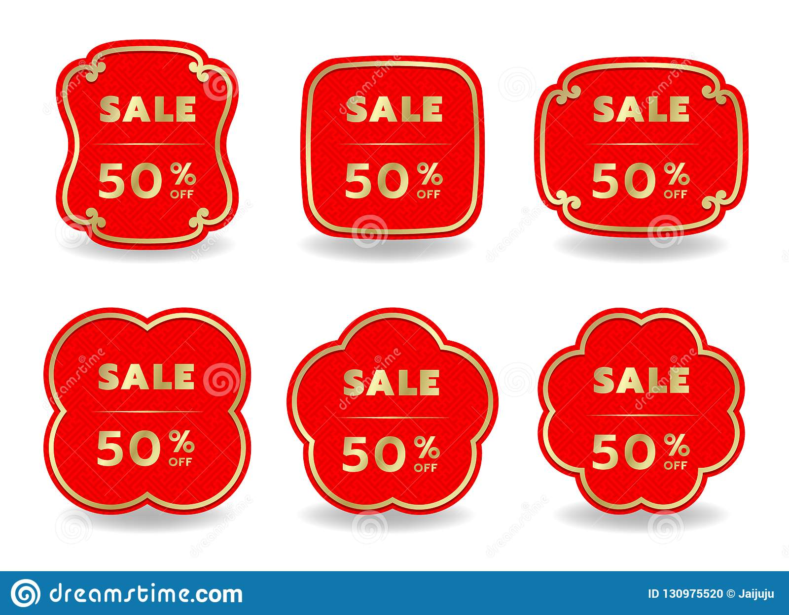set of chinese new year sale banner with border gold on red background vector design