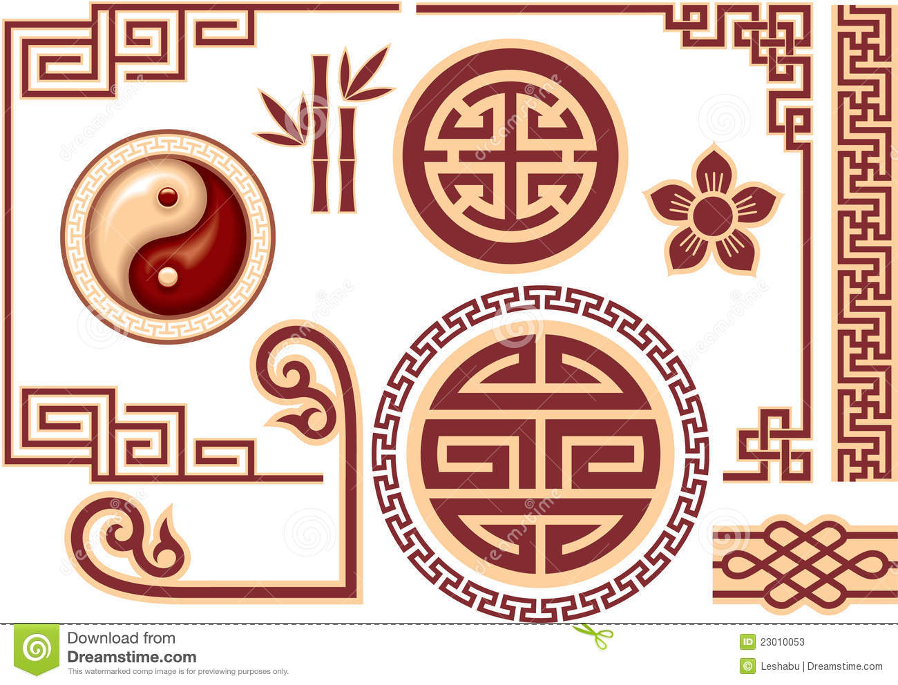 set of chinese oriental design elements stock illustration