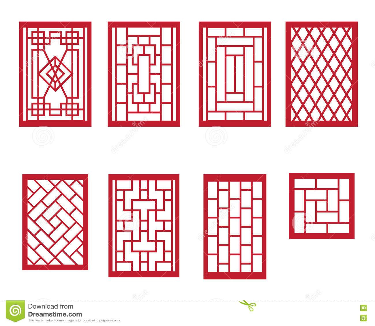 Set Of Chinese Pattern Window With Frame Stock Vector - Illustration ...