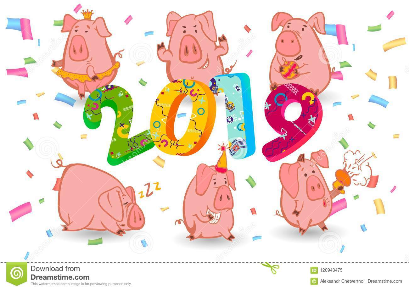 Set Of 6 Chinese Symbol Of The 2019 Year Pig With Different Emotions