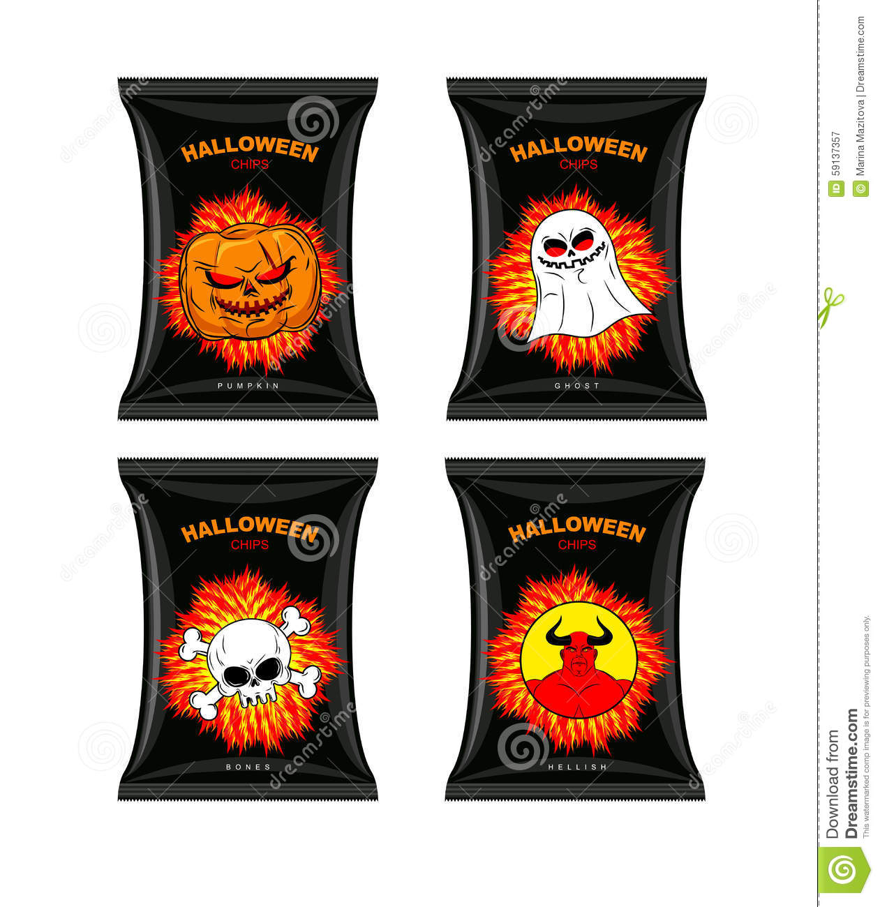 set chips for halloween  terrible food for holiday  snacks