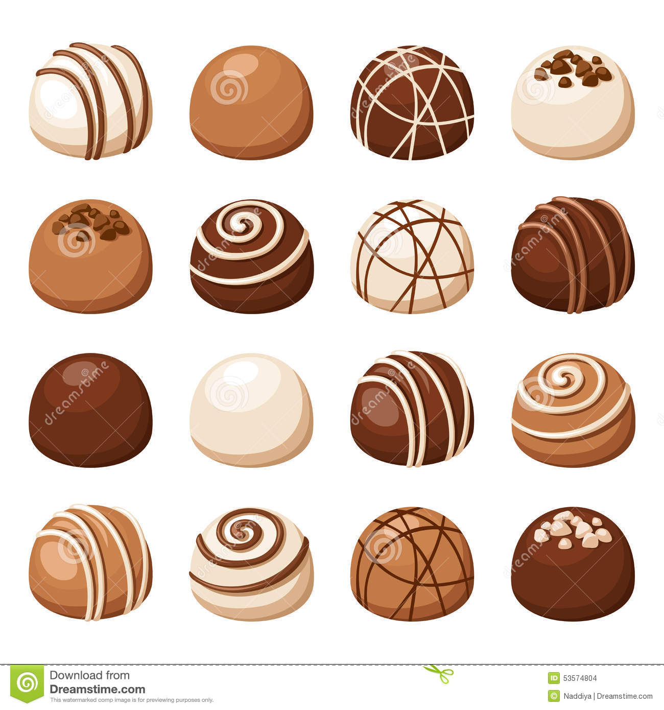 Set Of Chocolate Candies. Vector Illustration. Stock Vector - Image ...