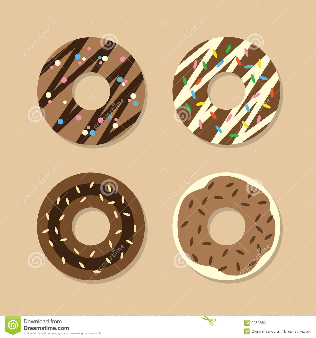 Set Of Chocolate Donuts