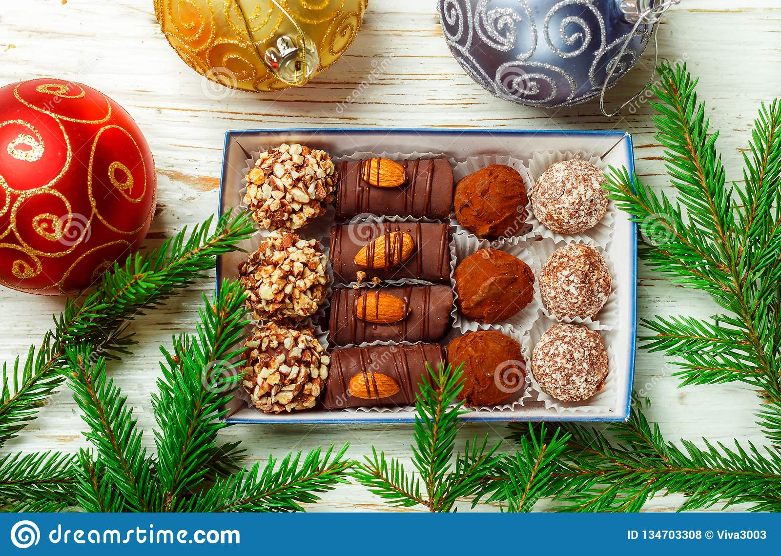 Set of chocolates. Truffles with almonds, coconut and cookie crumbs