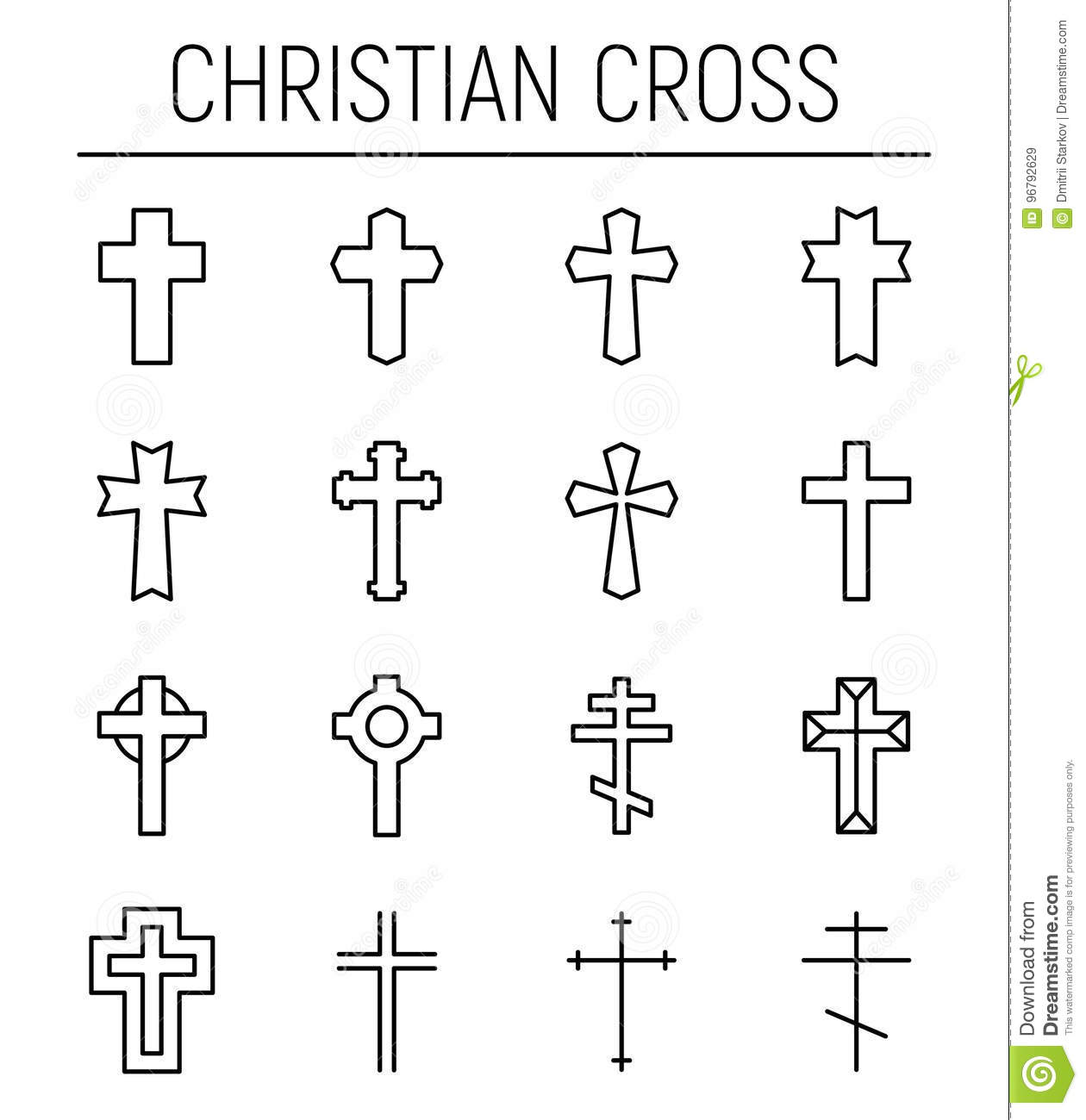 Set Of Christian Cross In Modern Thin Line Style Stock Vector