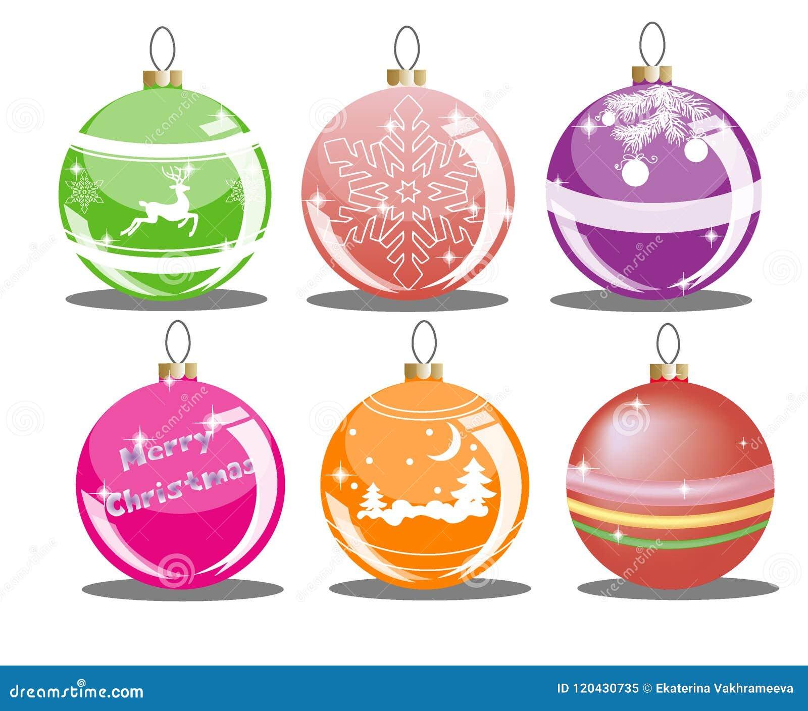 Colorful Christmas Ornaments Drawings.Set Of Christmas Balls Stock Vector Illustration Of Deer