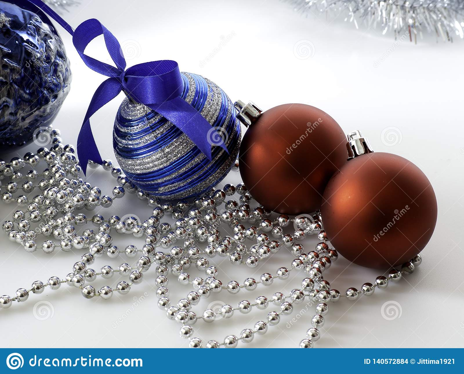 Set Christmas bauble with ribbon on white