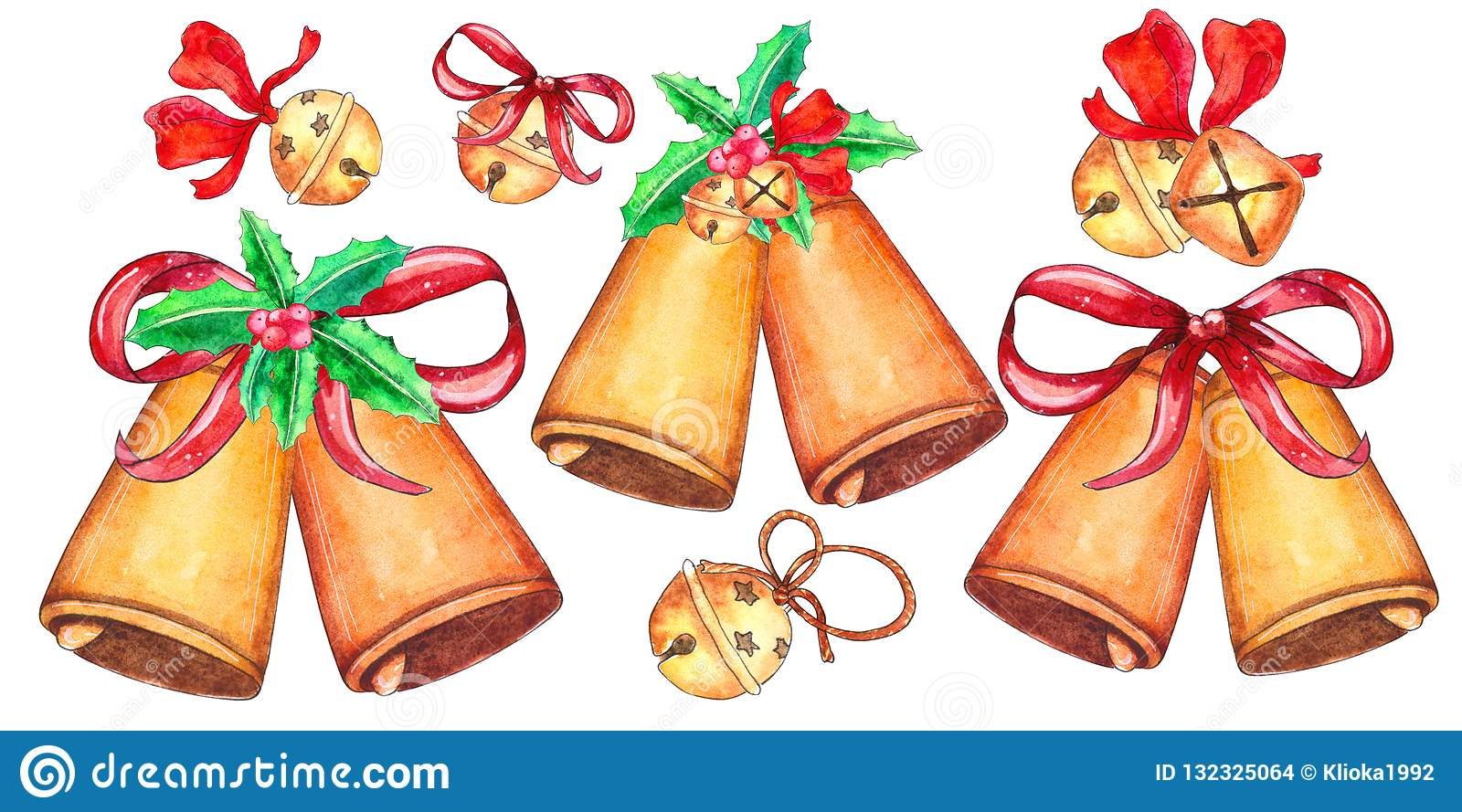 Set of Christmas bells isolated on white background