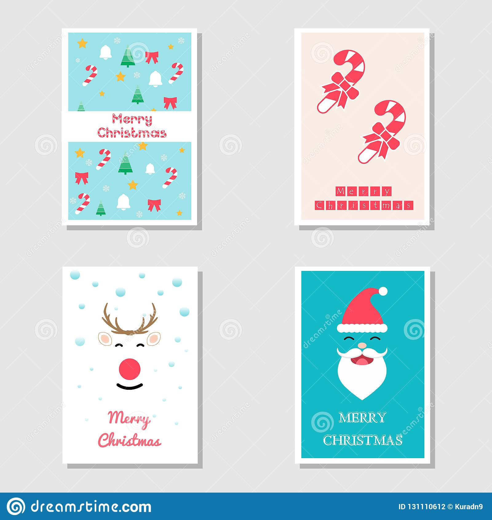 Set Of Christmas Card And Invitation Card In Flat Design