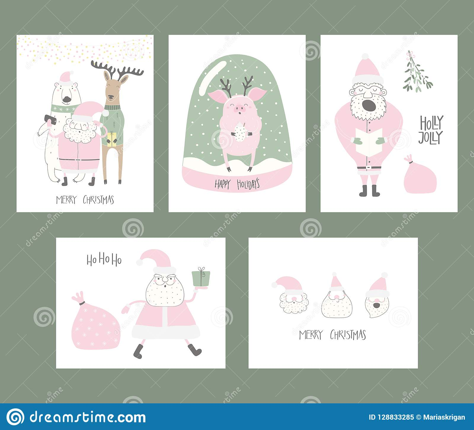 Cute Christmas Cards.Christmas Cards Collection Stock Vector Illustration Of
