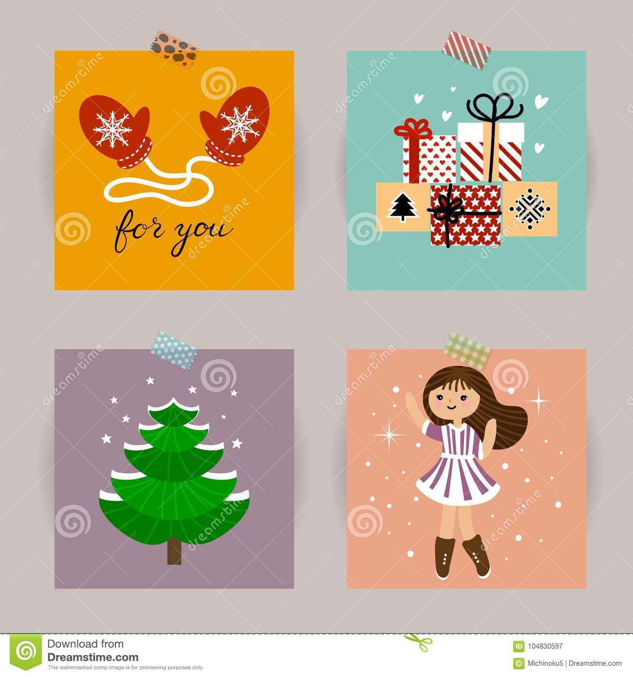 Set Of Christmas Cards. Vector Illustrations Of Christmas Attributes ...