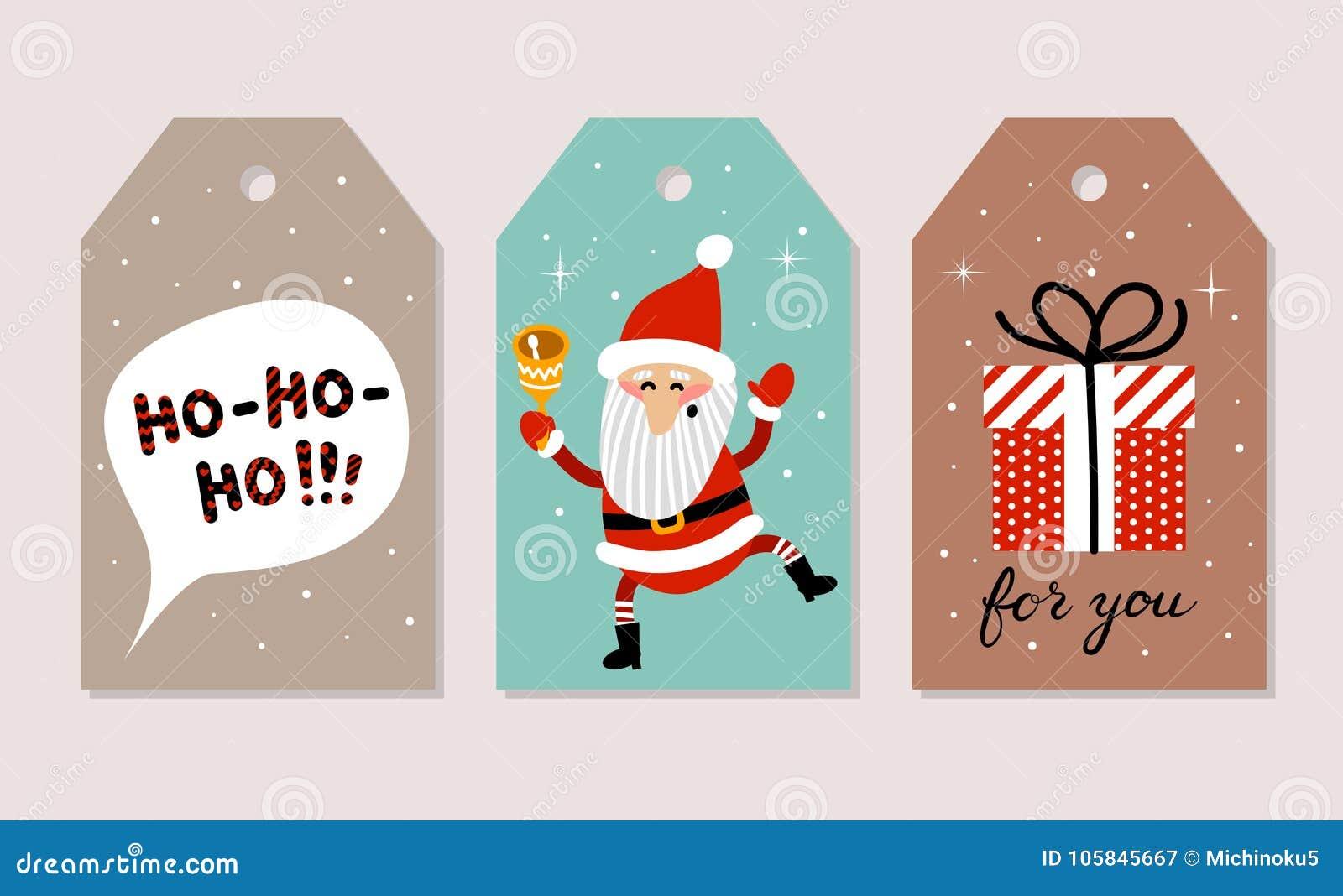 Set Of Christmas Cards. Vector Illustrations Of Santa Claus, Ho-ho ...