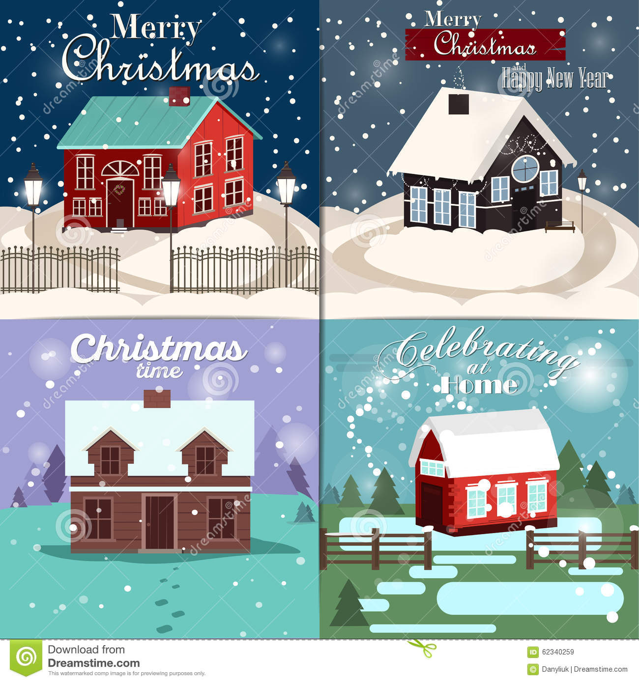 Set Of Christmas Cards With Winter Home Xmas Tree Snow Globe And