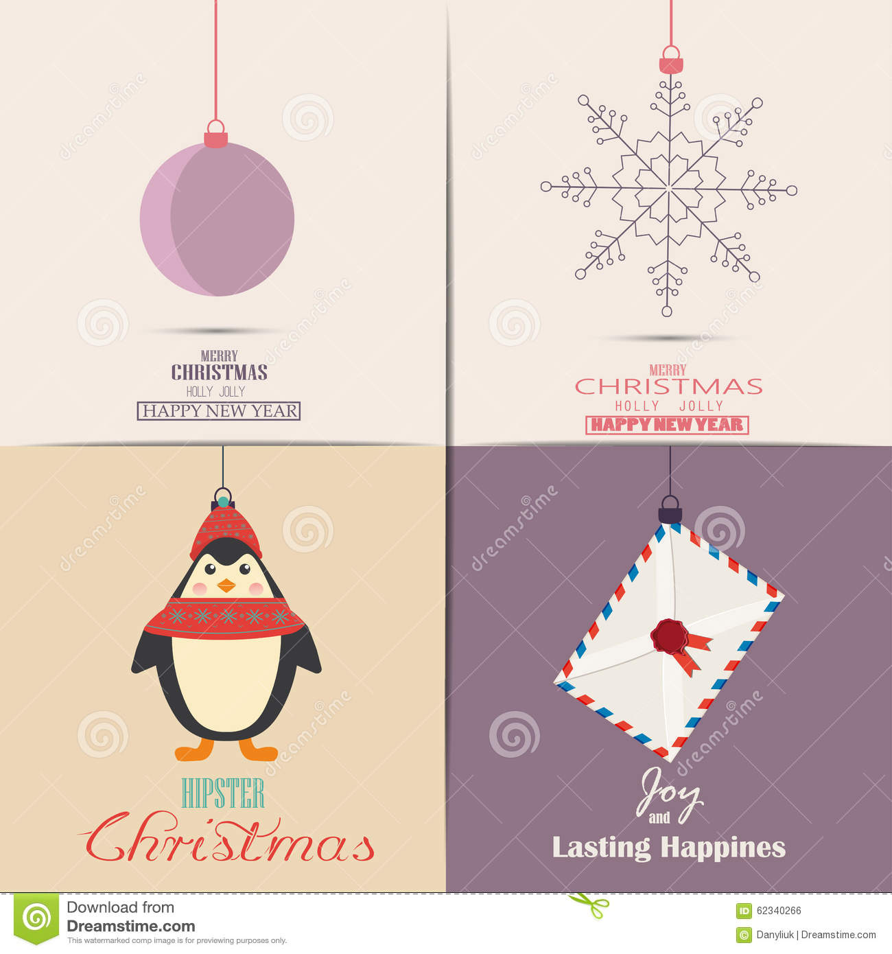 Set Of Christmas Cards. With Winter Home, Xmas Tree, Snow Globe, And ...