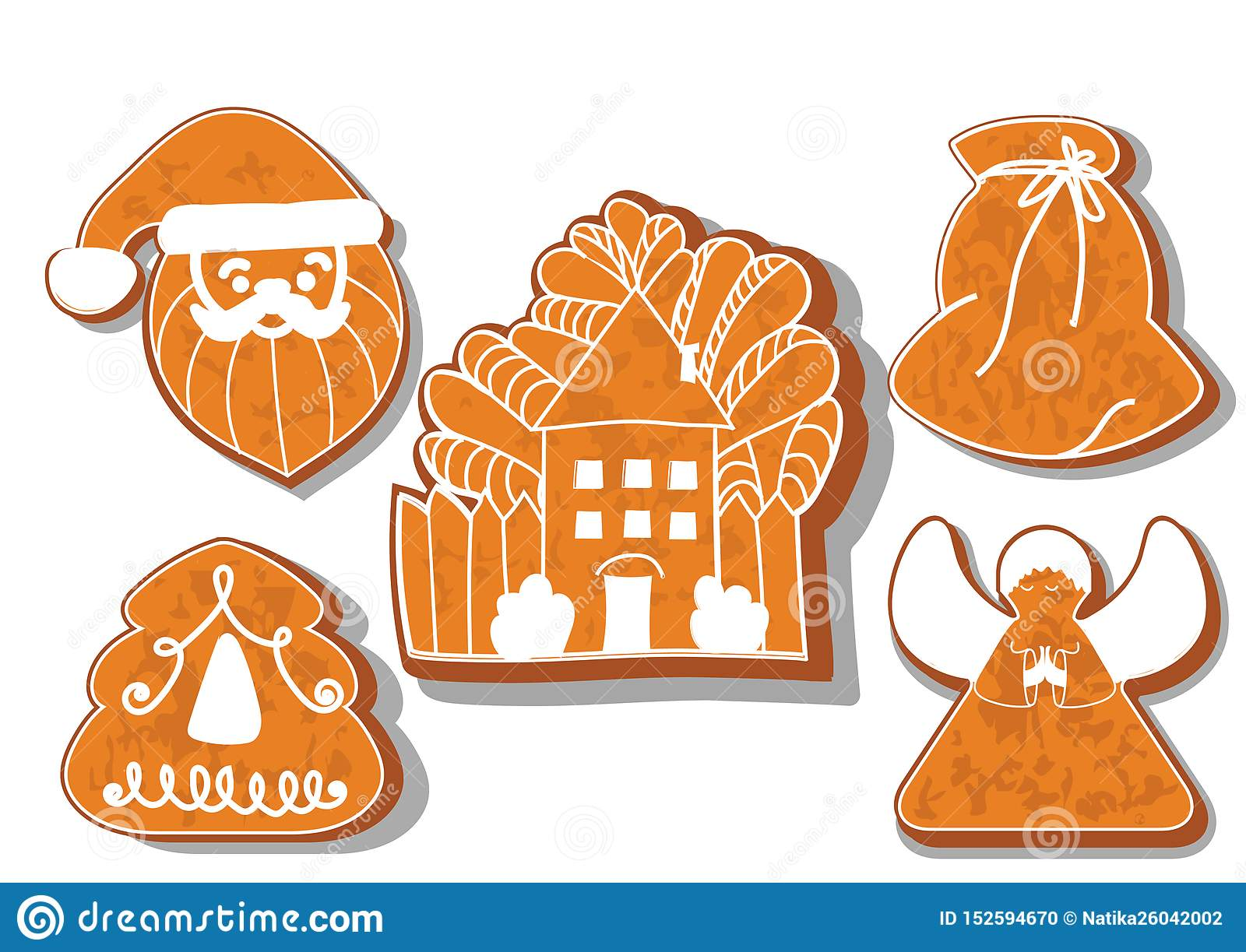 Set of Christmas cookies. Set of different gingerbread cookies for Christmas. Christmas gingerbread Christmas characters