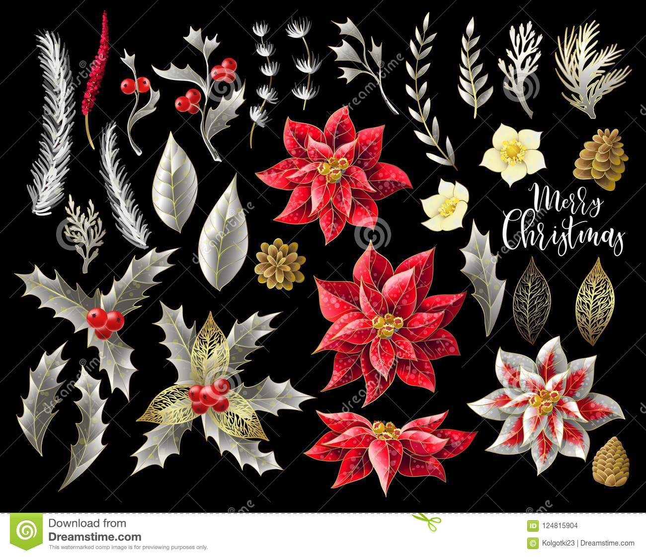 Set Of Christmas Decor In Golden Style, Such As Poinsettia