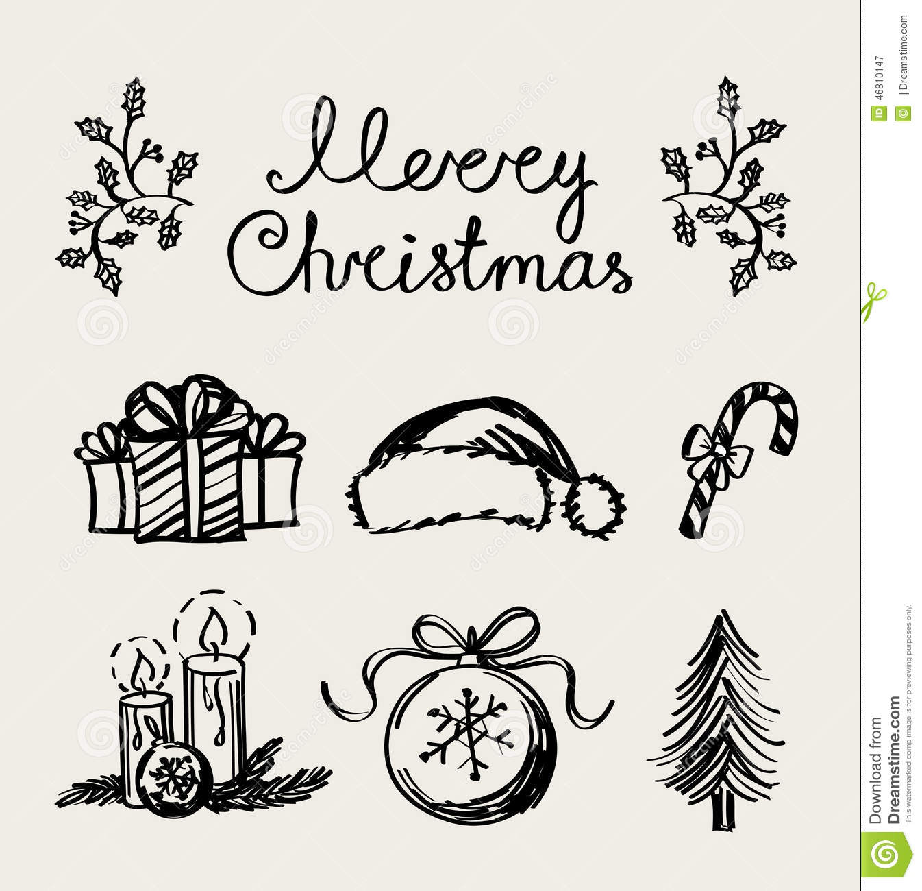 Christmas Tree Decoration Elements: A Set Of Christmas Decoration Elements, Handwriting Stock