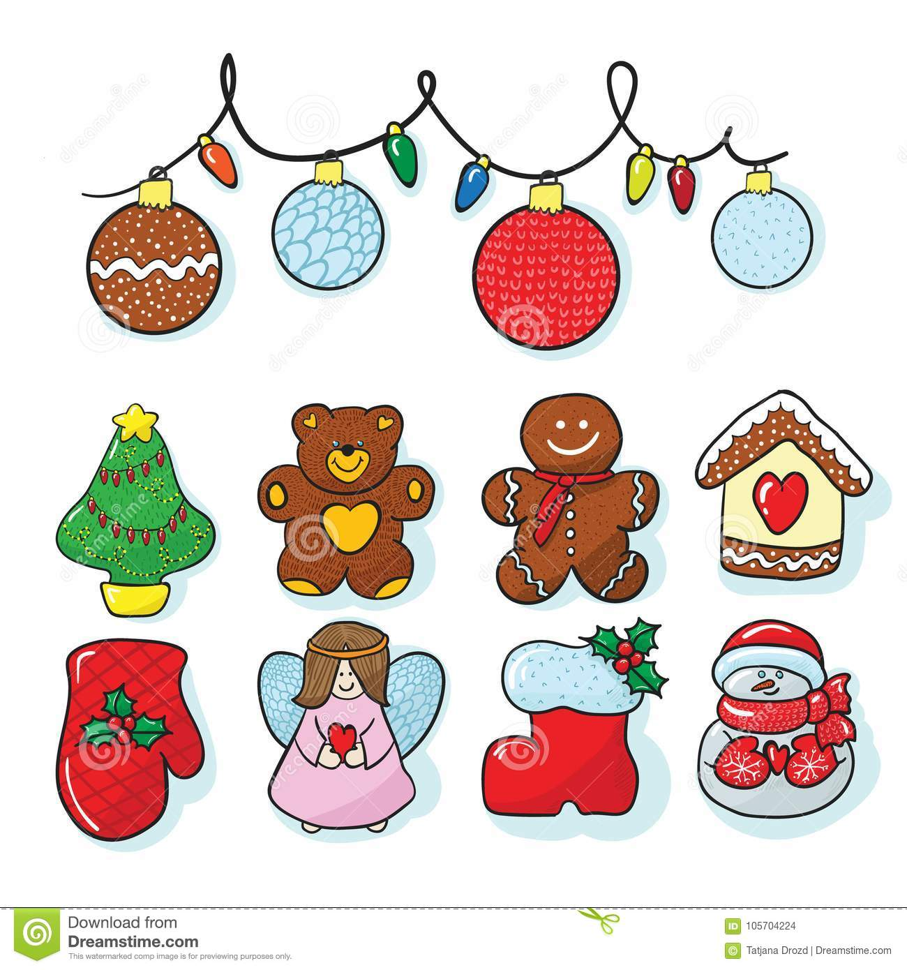 Drawings Of Christmas Decorations.Set Of Christmas Decoration Hand Draw Stock Vector