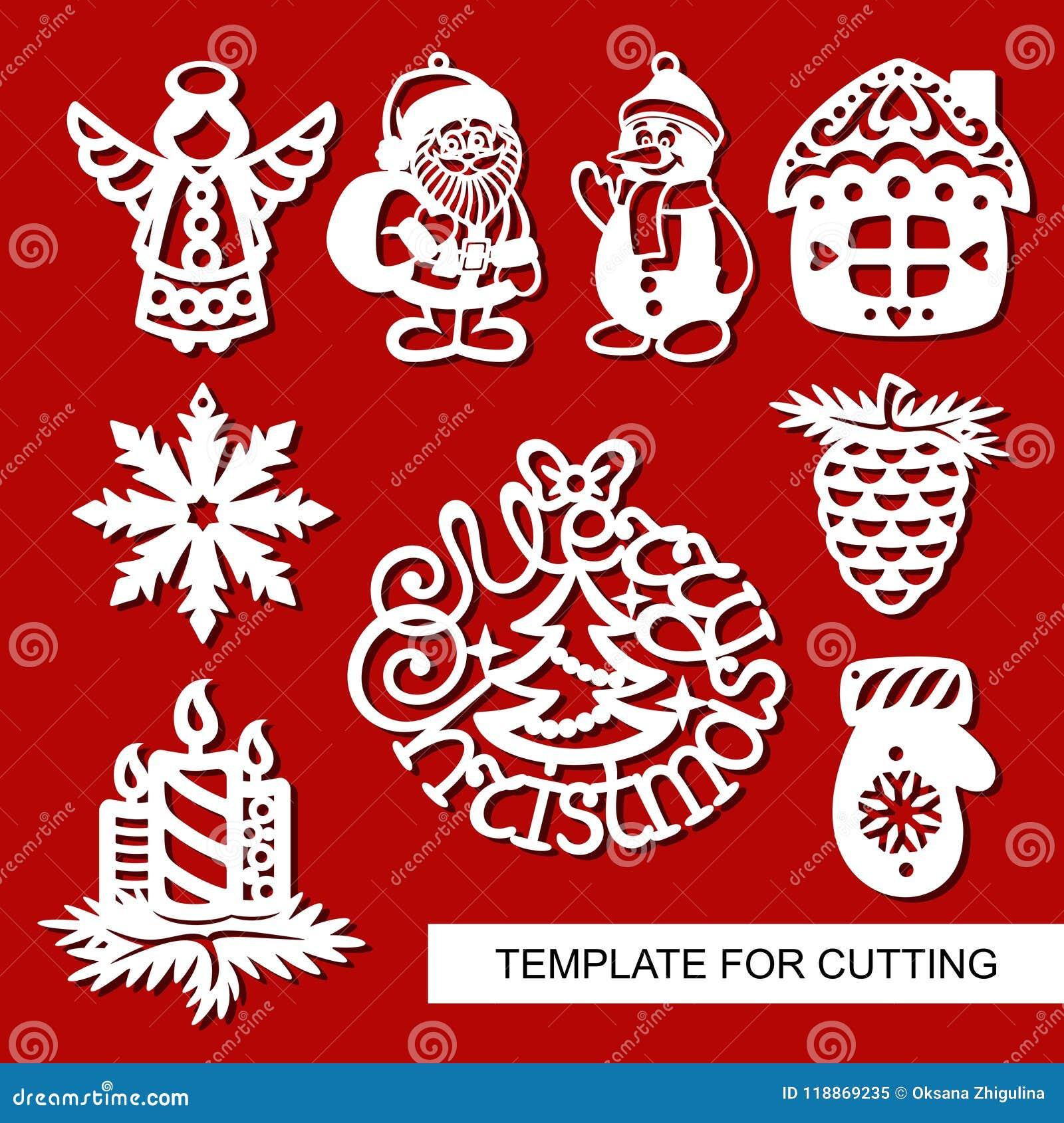 Christmas Cutout Patterns.Set Of Christmas Decoration Silhouettes Of Angel Santa