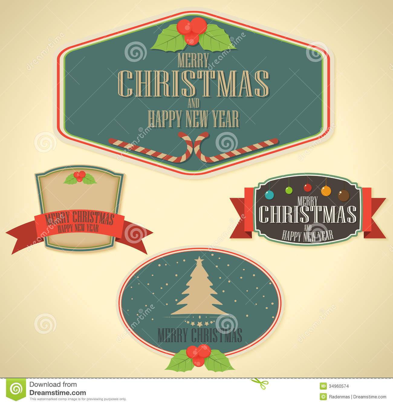 set of christmas decoration and vintage new year labels