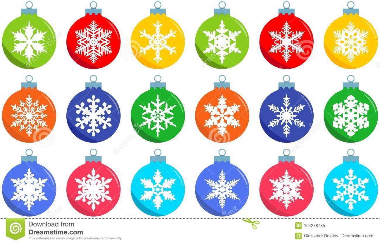 download christmas and new year concept set of different christmas decorations balls in flat style - Different Christmas Decorations