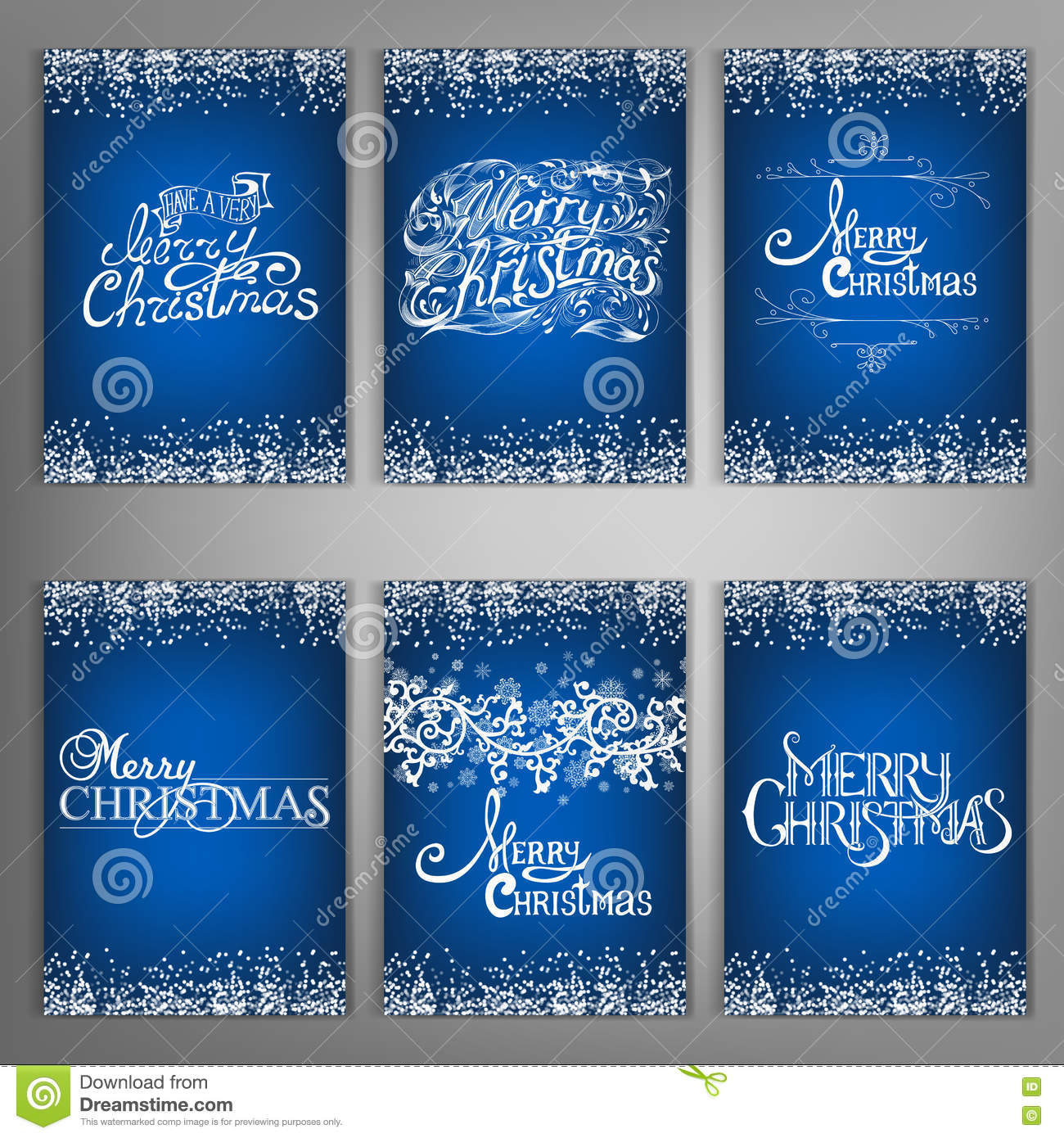 Set Christmas Decorations Lettering Design Message Stock Vector
