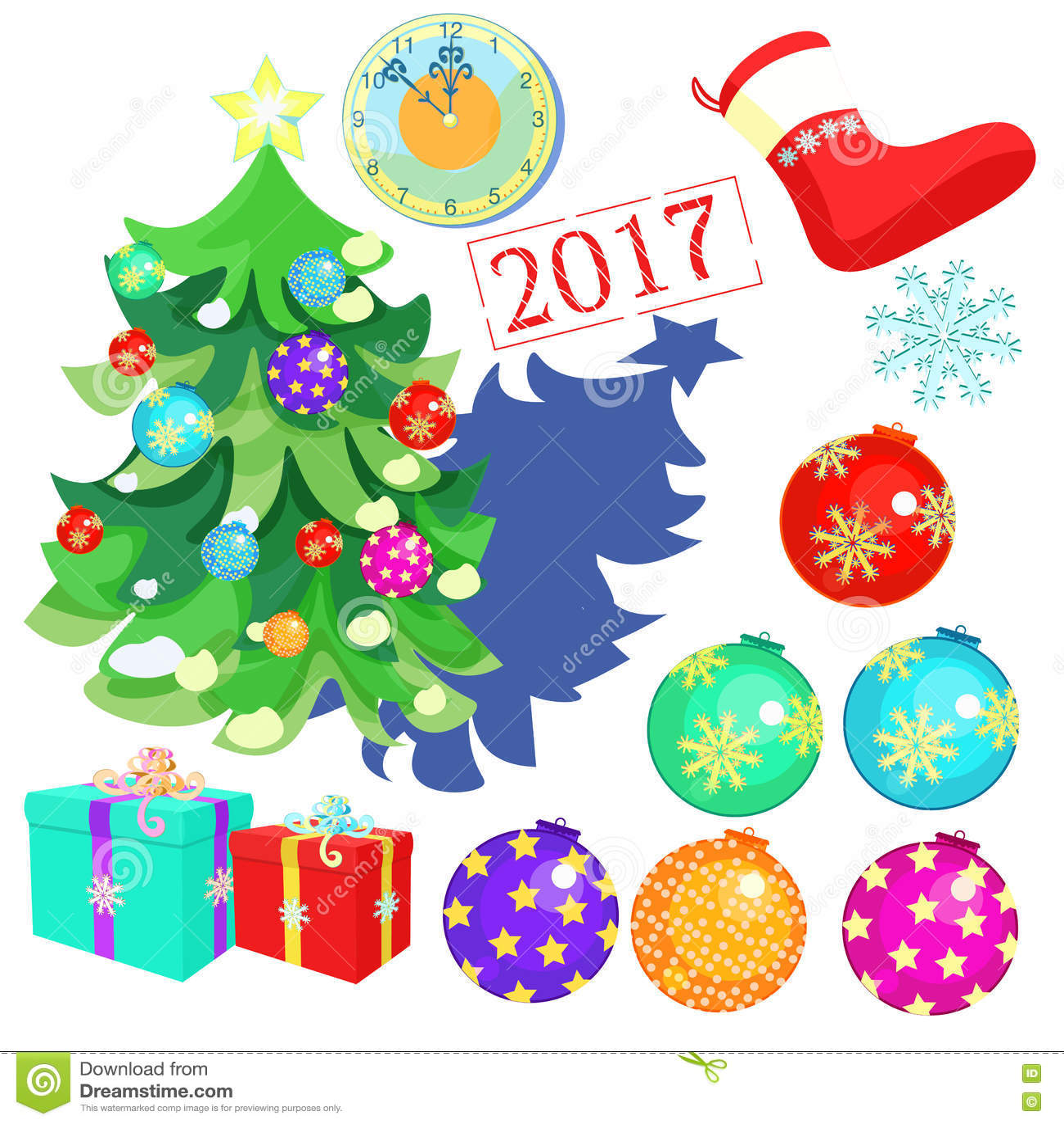 Set Of Christmas Decorations Toys Balls Tree Clock Twelve Gifts Santa Claus Socks 2017 Vector Illustration