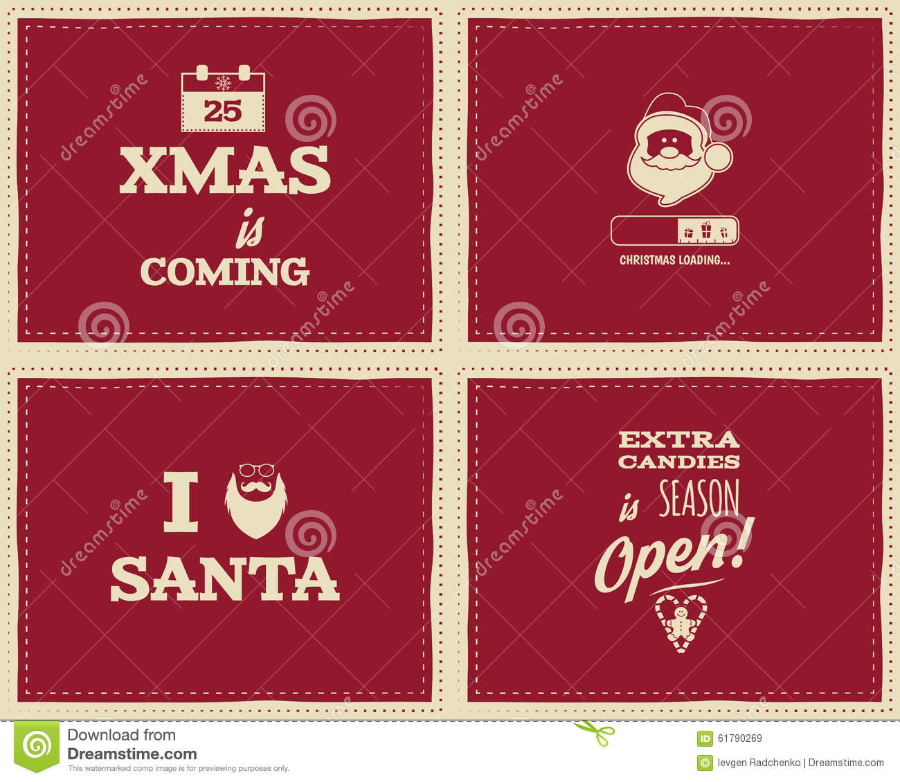 set of christmas funny signs quotes backgrounds stock vector image 61790269. Black Bedroom Furniture Sets. Home Design Ideas