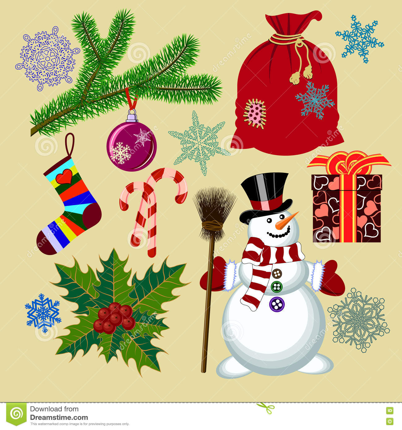 Set of christmas with funny snowman and christmas for Funny christmas decorations