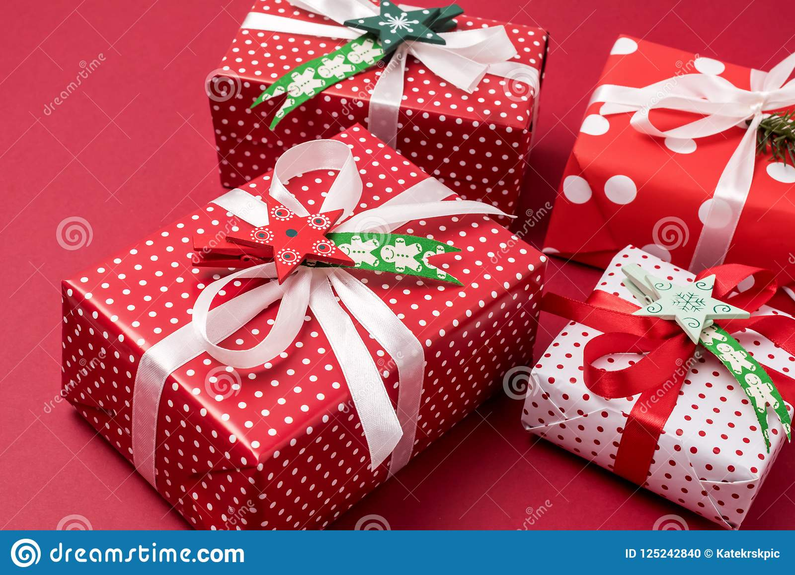 download set of christmas gift boxes christmas background holiday decorations presents in a red wrapper red