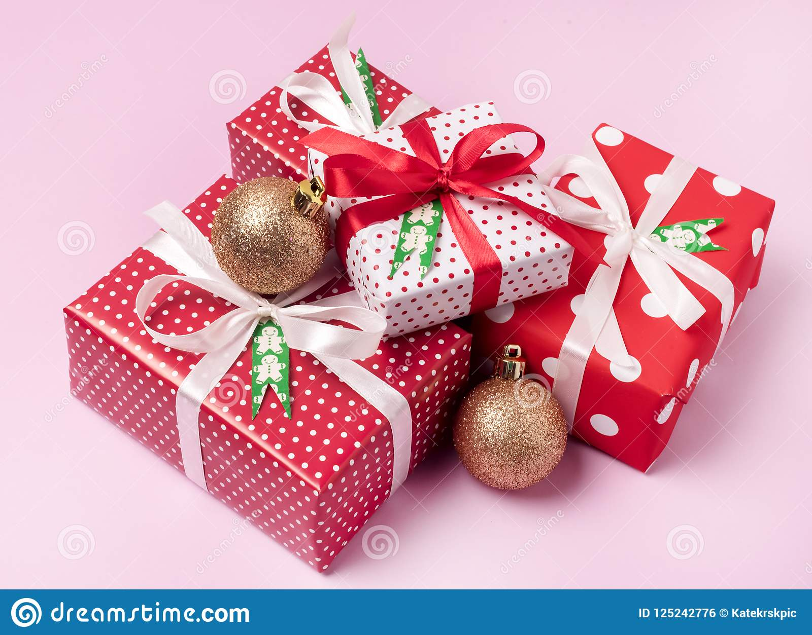 Set Christmas Gift Boxes Christmas Background Holiday