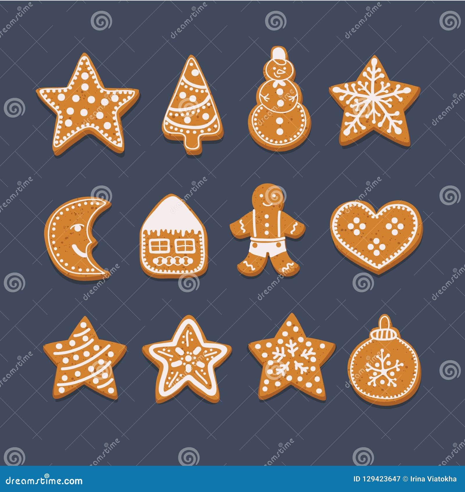 Christmas Gingerbread House Cartoon.Set Christmas Gingerbread Stock Vector Illustration Of