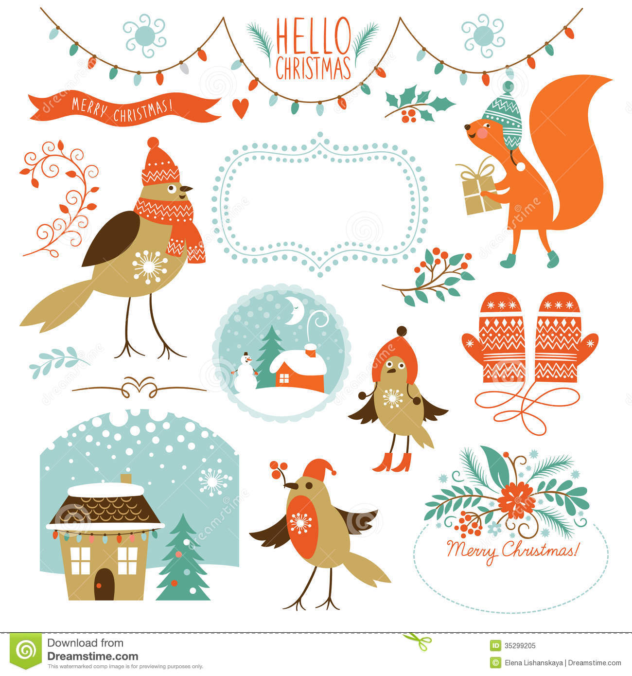 Christmas Graphics Free Download.Set Of Christmas Graphic Elements Stock Illustration