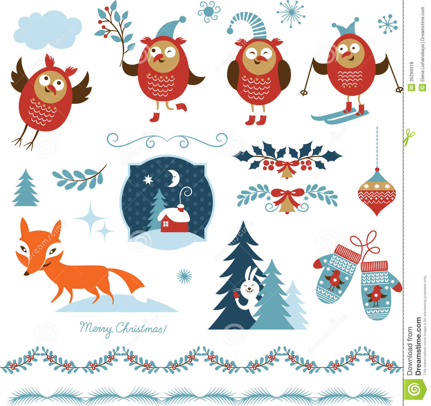 Christmas Graphic.Set Of Christmas Graphic Elements Stock Vector