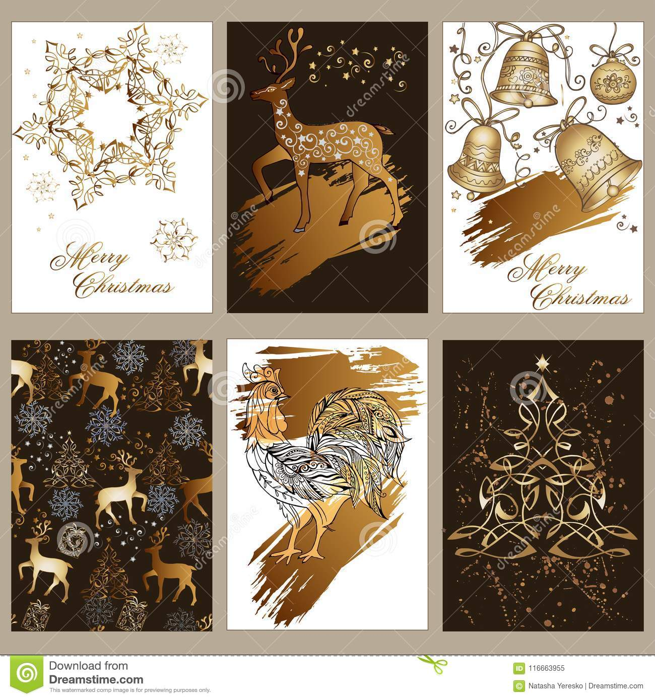 A Set Of Christmas Greeting Cards With Gifts, Deer, Bells, Ornament ...