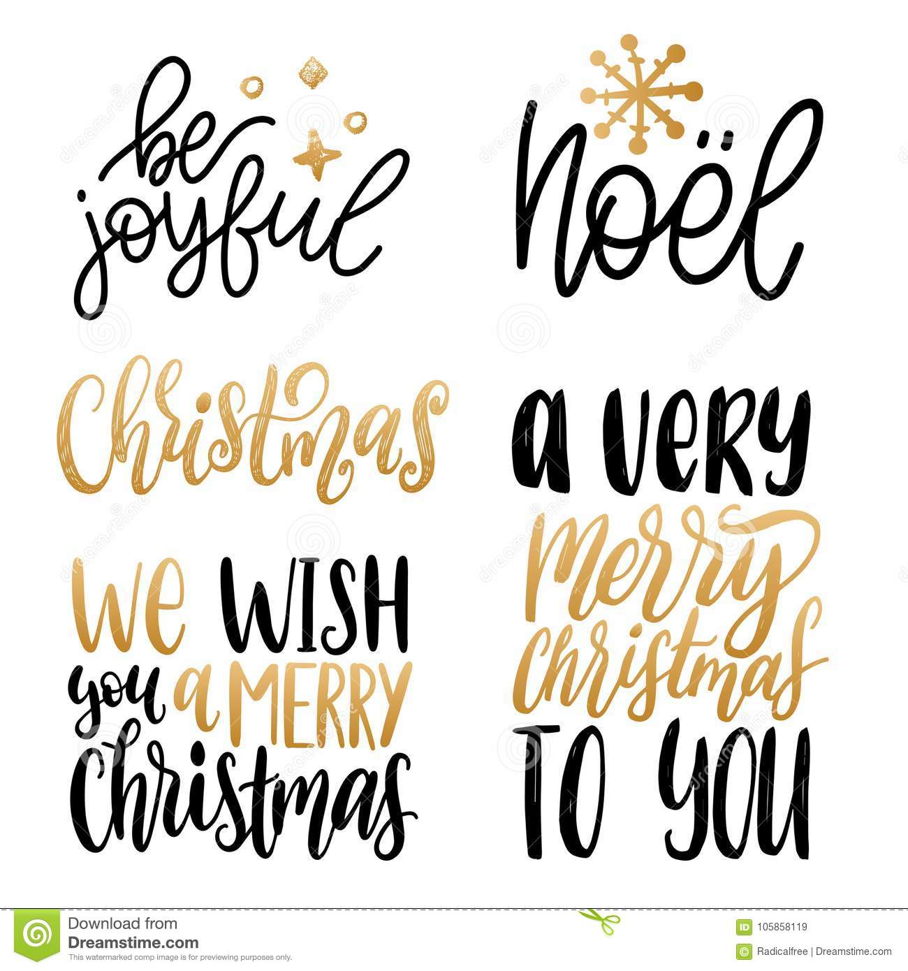 Set Of Christmas Hand Lettering.Vector New Year Calligraphic ...