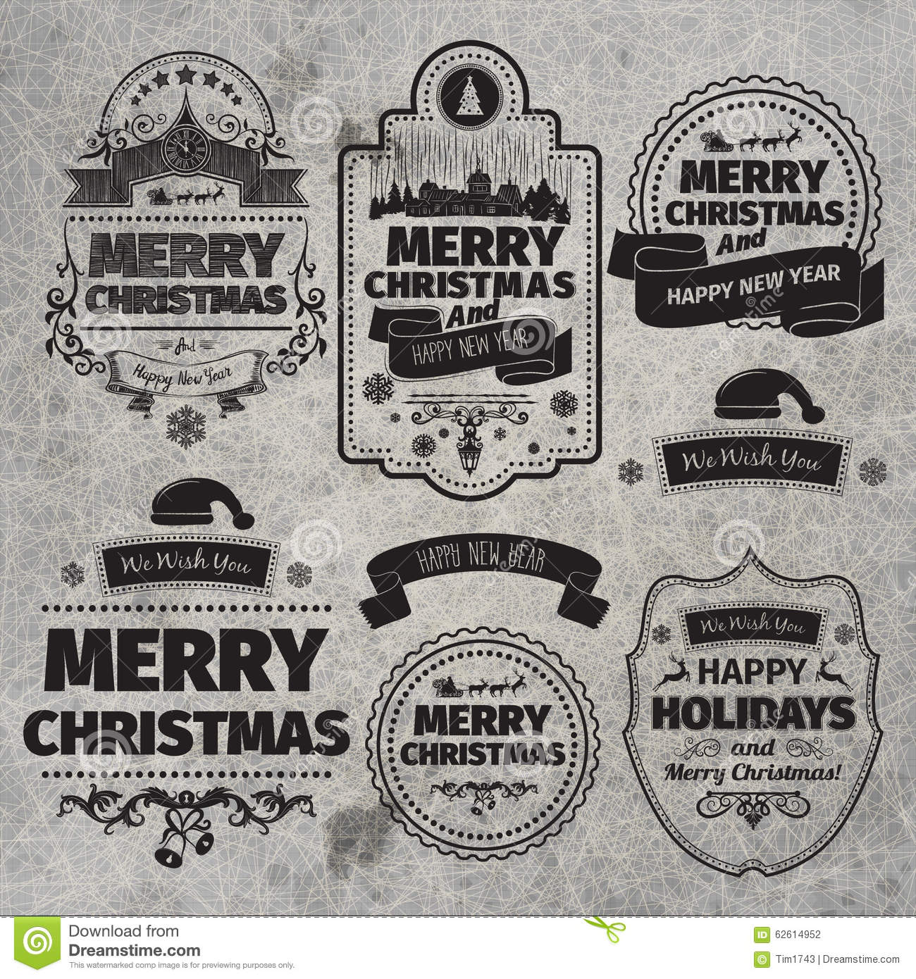 set of christmas and happy new year labels with retro vintage styled design