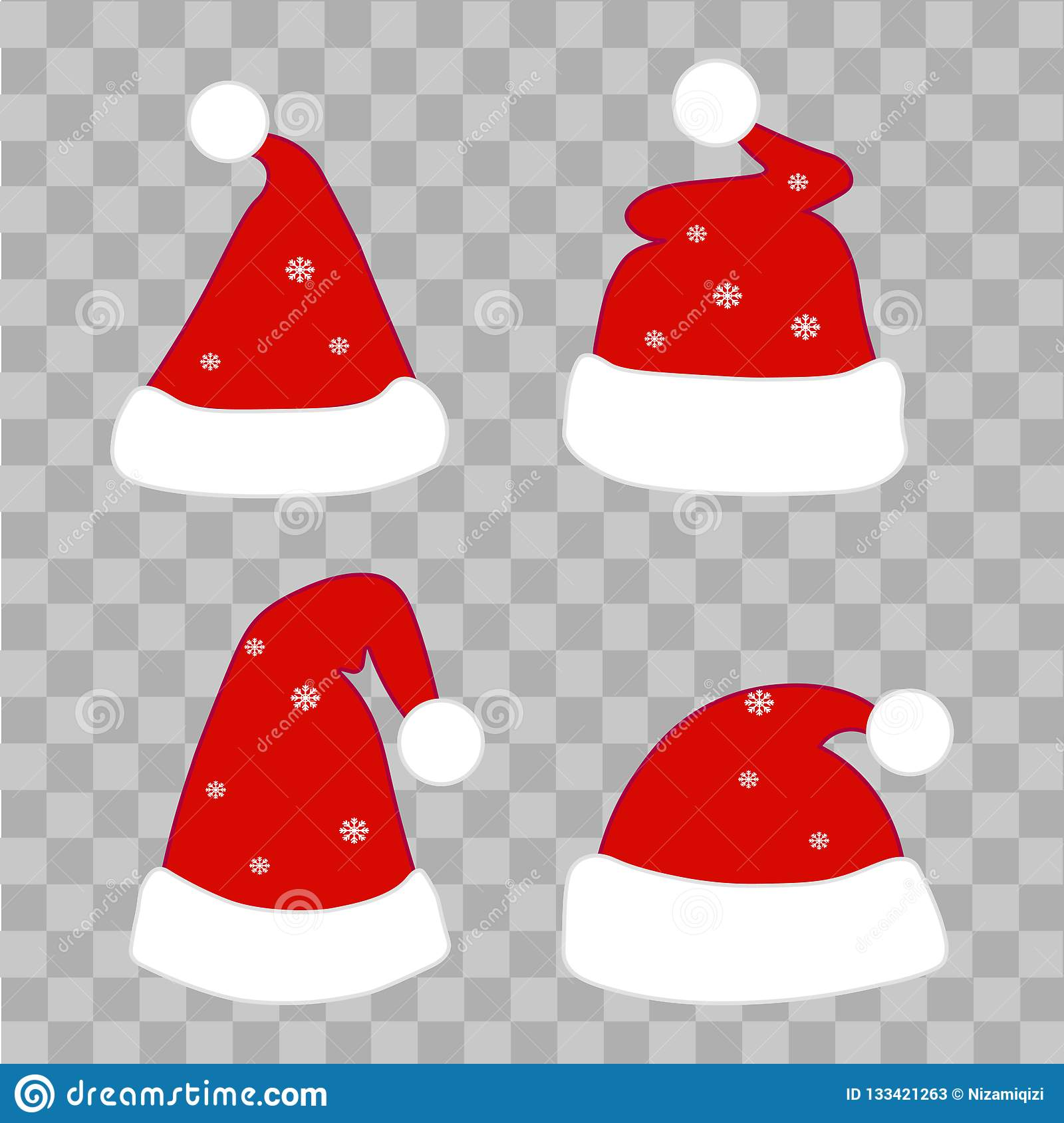 Set of Christmas hats on transparent background. Vector
