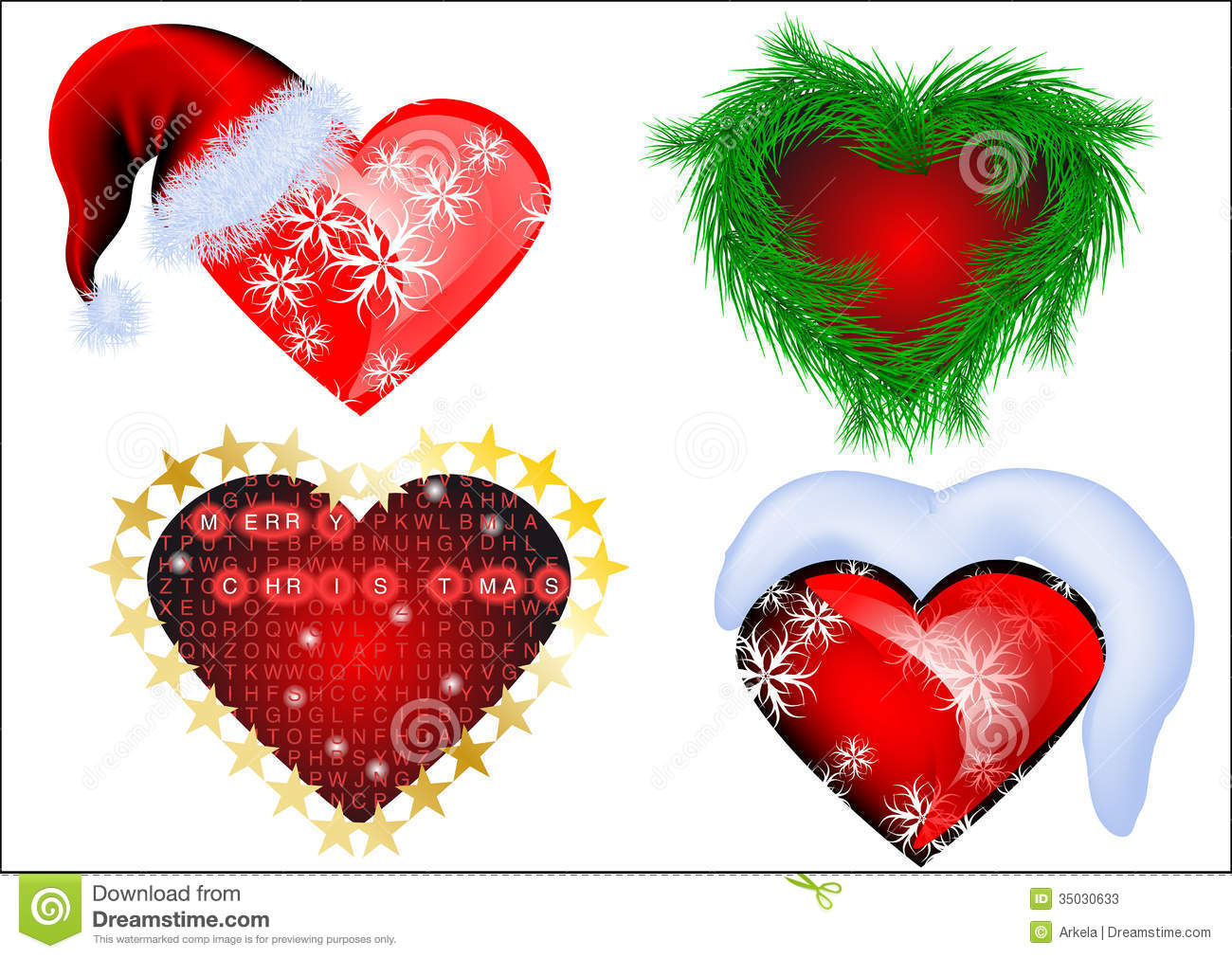 Set Of Christmas Heart Stock Image. Image Of Isolated