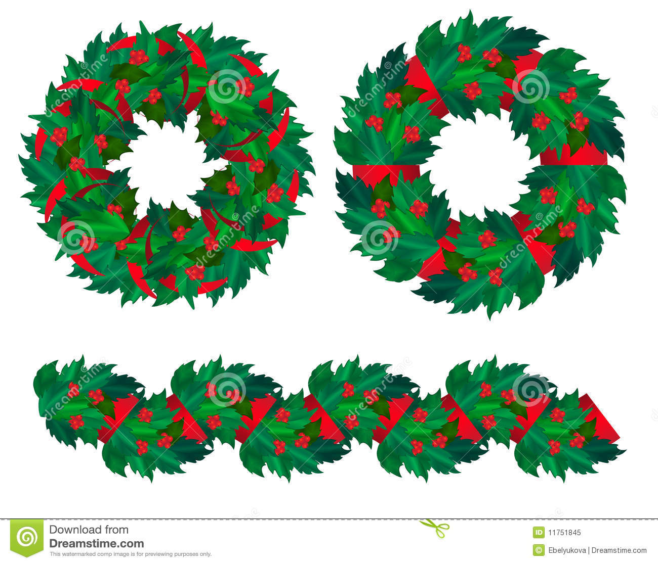 Download Set Of Christmas Holly Wreaths And Garland Stock Vector